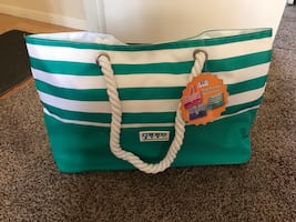 Green & white stripe bag