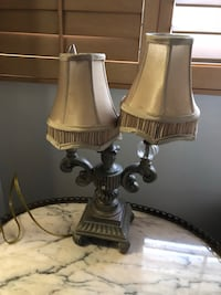 two brown-and-white table lamps 906 mi