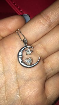 Silver and diamond moon star and heart necklace  San Jose, 95112