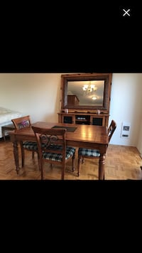 Table , chairs , buffet , side table & mirror set sold together