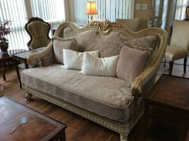 Love seat With Gold Trim
