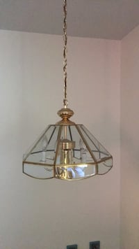 brass and clear glass pendant lamp 46 km