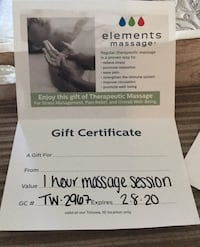 Gift certificate for massage $74 value