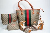 brown, green, and red monogrammed Gucci 3-piece bag set with wedge sandals