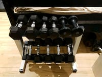 black and gray fixed weight dumbbells with bench Whitchurch-Stouffville, L4A 0L9