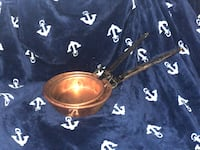Primitive Copper Skillet with Wrought Iron Handle Set 31 mi