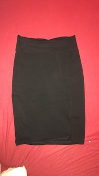 Black Mid length pencil skirt w small slit on the side