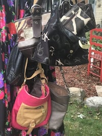black and pink leather backpack Buffalo Grove