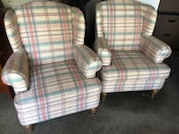 Pair of Plaid Winged back chairs 906 mi