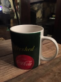 White and green refreshed coca cola ceramic mug
