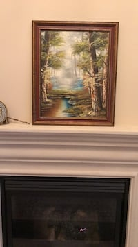 brown wooden framed painting of house Vaughan, L6A 0E4