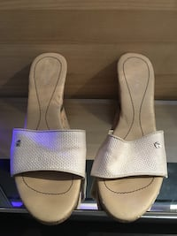 pair of white leather open-toe sandals Chicago, 60616