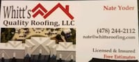 Liscenced and insured roofing company  Montezuma, 31063