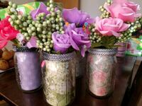 clear glass jars with faux rose flowers accentr Norridge, 60706