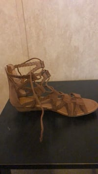 pair of brown leather open-toe wedge sandals Tampa, 33637
