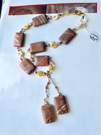 Gemstone necklace jasper and mother of pearl brand new New York, 11360