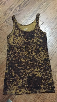 women's black and brown floral tank top