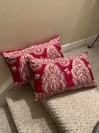 2 silk embroidered pillows maroon & beige taupe Wilmot, N3A