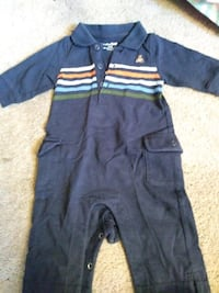 toddler's blue and multicolored striped polo shirt onesie
