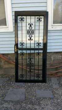 black metal framed glass security door Bridgeport