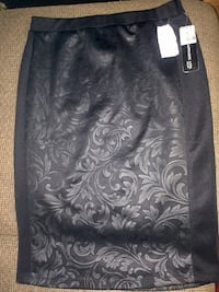 black and gray floral skirt