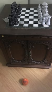 brown wooden Chess table set