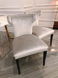 Silver Velvet Dining Chairs (x8)