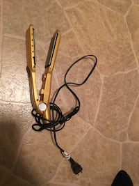 brown and black hair flat iron