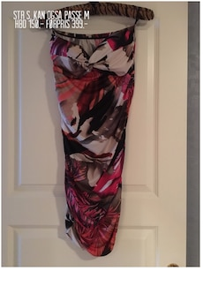 women's black pink and gray dress