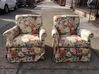 """Floral Arm Chairs 29""""W 31""""D 32""""H  New York, 11106"""