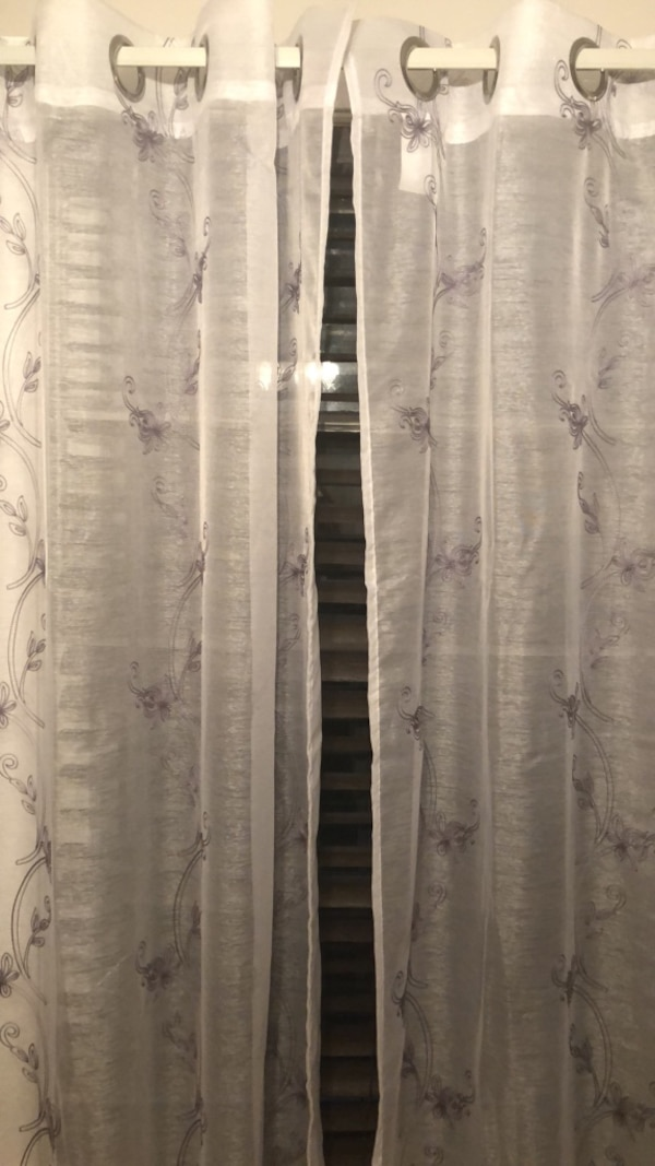 White and gray floral window curtain