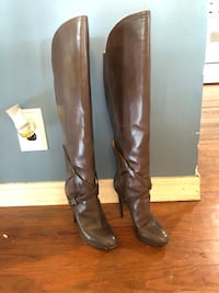 Brian Atwood Falcon knee-high leather boots (grey) Amesbury