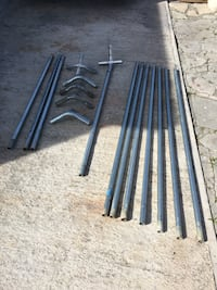 galvanized  posts with framing connectors for canopy