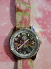 round silver chronograph watch with red leather strap Thibodaux, 70301