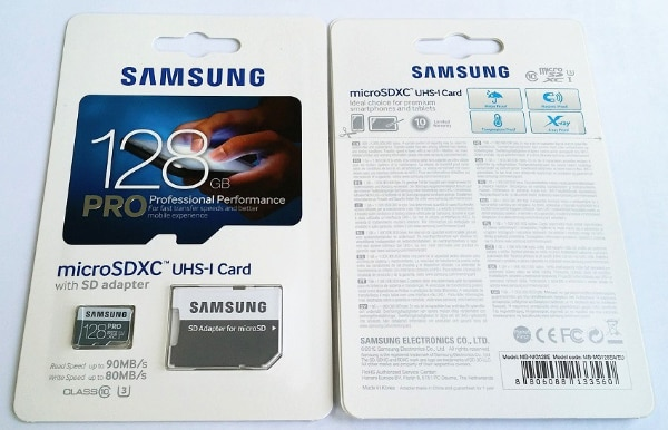 Used SAMSUNG PRO 128gb MICRO SD CARD SDHC/SDXC CLASS 10 MOBILE PHONE - CAMERA MEMORY for sale in IRVINE