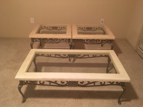 Gl Top Coffee Table And Matching End Tables