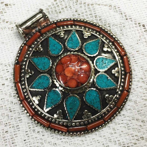 Tibetan Silver & Natural Gem Stones Turquoise & Coral Pendent 35.00 From Asia 31e54ddd-e41c-4e63-bb74-a251ac711457