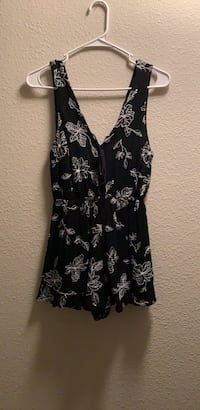 Black/White Embroidered Romper Wylie, 75098