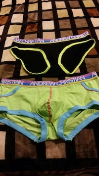 women's black and green Andrew Christian brief