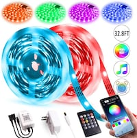 New 2 Pack LED Color Changing Strip 32.8ft Bluetooth Music Sync Remote