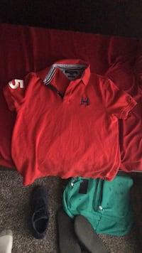 boy's red polo shirt