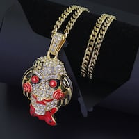 Hip Hop Horror Mask Full Iced Cuban Choker Chain Necklace West Chicago, 60185