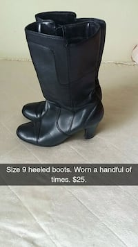 pair of women's size 9 black leather heeled wide-calf boots Lower Sackville, B4C 3G9