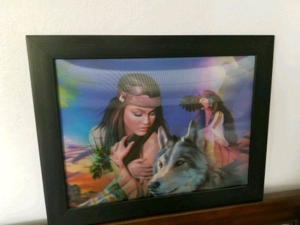 female Native American illustration with black woo