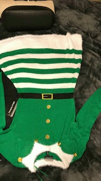green and white striped crew-neck long-sleeved mini dress