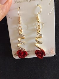 gold-colored crystal and red earrings Dix Hills, 11746