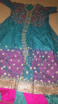 women's blue and purple sequin traditional dress