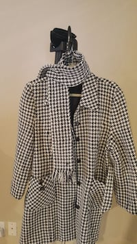 white and black houndstooth button-up jacket