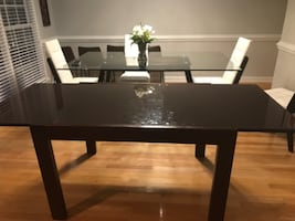 Glass top brown table and chairs