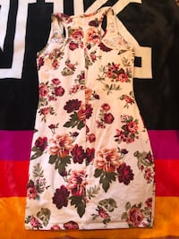 White, red, and green floral sleeveless dress